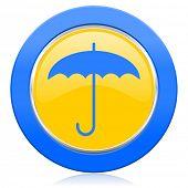 umbrella blue yellow icon protection sign