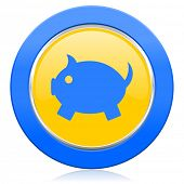 piggy bank blue yellow icon