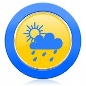 rain blue yellow icon waether forecast sign