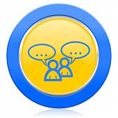 forum blue yellow icon chat symbol bubble sign