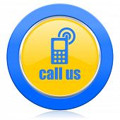 call us blue yellow icon phone sign