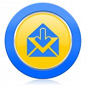 email blue yellow icon post message sign