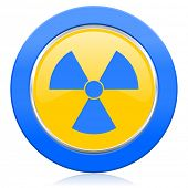 radiation blue yellow icon atom sign