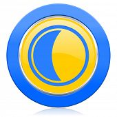moon blue yellow icon sleep sign