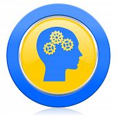 head blue yellow icon human head sign