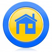 house blue yellow icon home sign
