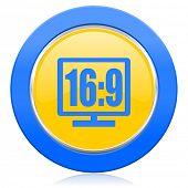 16 9 display blue yellow icon