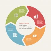 Circular infographics template for cycling diagram, graph, presentation and round chart.