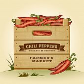 Retro crate of chili peppers