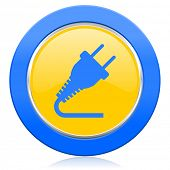plug blue yellow icon electricity sign