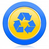 recycle blue yellow icon recycling sign
