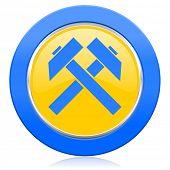 mining blue yellow icon