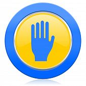 stop blue yellow icon hand sign