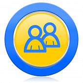 forum blue yellow icon people sign