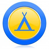 camp blue yellow icon
