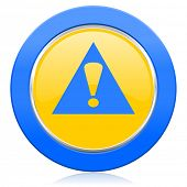 exclamation sign blue yellow icon warning sign alert symbol