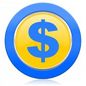 dollar blue yellow icon us dollar sign