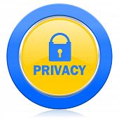 privacy blue yellow icon