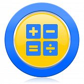 calculator blue yellow icon calc sign