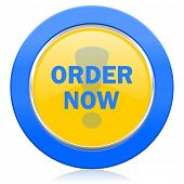 order now blue yellow icon