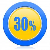 30 percent blue yellow icon sale sign
