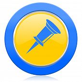 pin blue yellow icon