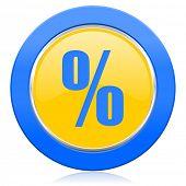 percent blue yellow icon