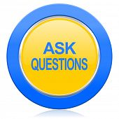 ask questions blue yellow icon