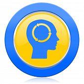 head blue yellow icon human head sign