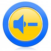 speaker volume blue yellow icon music sign