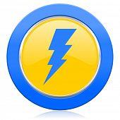 bolt blue yellow icon flash sign