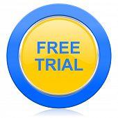 free trial blue yellow icon