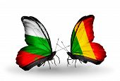 Two Butterflies With Flags On Wings As Symbol Of Relations Bulgaria And Mali