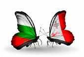 Two Butterflies With Flags On Wings As Symbol Of Relations Bulgaria And Malta
