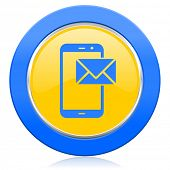 mail blue yellow icon post sign
