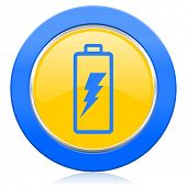 battery blue yellow icon power sign