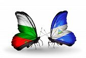 Two Butterflies With Flags On Wings As Symbol Of Relations Bulgaria And Nicaragua