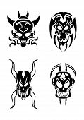 picture of cult  - Abstract black Skull tribal tattoo set  - JPG