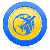 travel blue yellow icon
