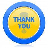 thank you blue yellow icon
