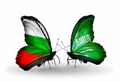 Two Butterflies With Flags On Wings As Symbol Of Relations Bulgaria And Saudi Arabia