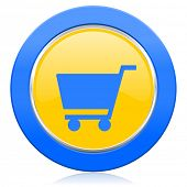 cart blue yellow icon shop sign