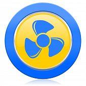 fan blue yellow icon