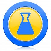 laboratory blue yellow icon