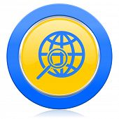 search blue yellow icon