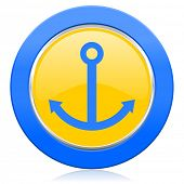 anchor blue yellow icon sail sign
