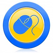 computer mouse blue yellow icon