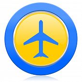 plane blue yellow icon airport sign
