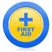 first aid blue yellow icon