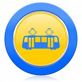 tram blue yellow icon public transport sign